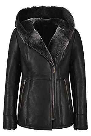 Smart Range Leather Ladies Sheepskin Jacket Shearling B3 Flying Grey Genuine Fur Hoodie Jacket NV39 (10)