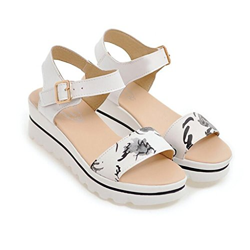 Sandals Summer White/Pink PU+ Polyurethane Anti-Slip Sole Open Toe Female Flat Heel Shoes Soft Shoes Student Shoes White 7SUJFTOX