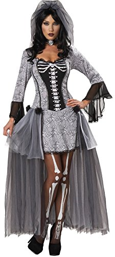 GTH Women's Skeleton Bride Theme Party Fancy Halloween Dress, L (Adult Skeleton Bride Costumes)