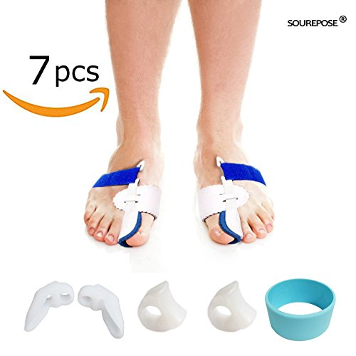 Bunion Corrector, Bunion Corrector & Bunion Relief Protector Kit, Toe Spacers Alignment Straightener Splint Treat Pain in Hallux Valgus, Tailors Bunion, Big Toe Joint, Hammer Toe (7 PCS) by SOUREPOSE