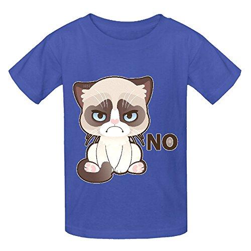 Grumpy Cat Mid Kid's Crew Neck Customized Tees Blue