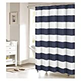 striped shower curtains Fabric Shower Curtain: Nautical Stripe Design (Navy and White)