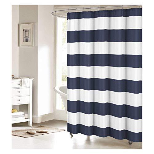 (Fabric Shower Curtain: Nautical Stripe Design (Navy and White))