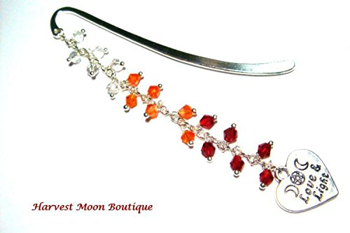 Wiccan Bookmark, Book of Shadows Bookmark, Journal Bookmark, Red, Orange, & Clear Crystal Beaded, Metaphysical, Spiritual, Love & Light Bookmark, Triple Moon Goddess, Heart Charm