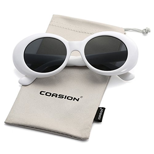 (Retro Clout Goggles Sunglasses for Women Vintage Oval Bold Frame Round Lens Glasses (White))