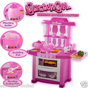 Girls Kids Deluxe 25pc Kitchen Playset Cooking Role Play Set Food