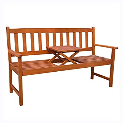 """K&A Company Outdoor Bench, Garden Bench with Pop-up Table 62.2"""" Solid Acacia Wood"""