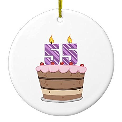 amazon com christmas tree ornaments age 55 on birthday cake circle