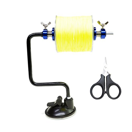 Dicero Extractor(6.5inch width ,7inch height) Portable Fishing Line Spooler/ Reel Winder (Oxidation Aluminum Bonus stainless fishing scissors ). (Station Spooling)