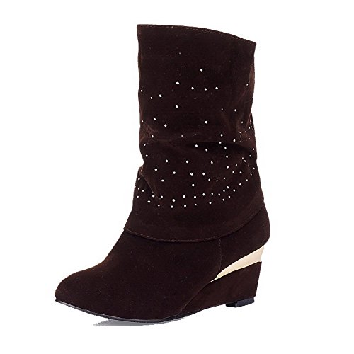Kitten Boots Women's Pull On Brown Low AgooLar Top Frosted Heels Solid H5dzCqwxC