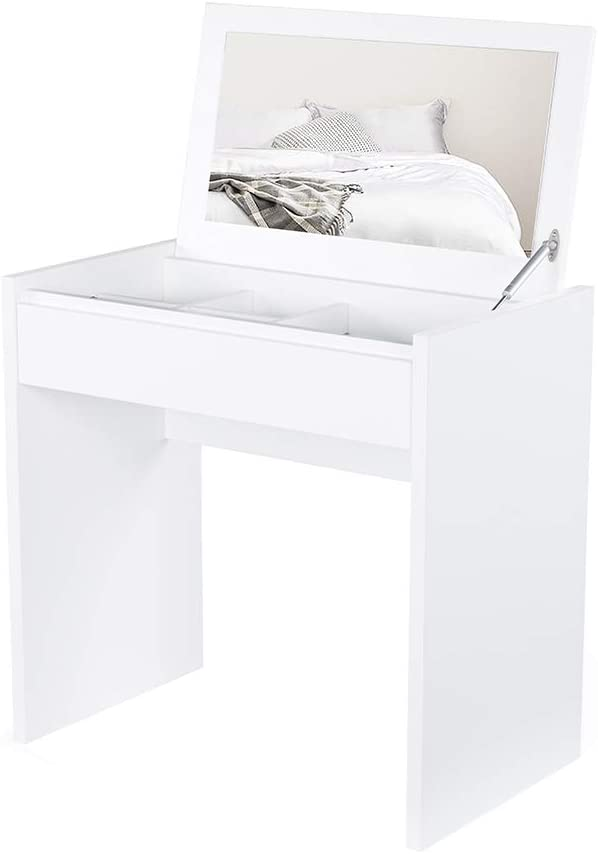 Sunon Makeup Table,Vanity Dressing Table with Flip-Desktop Mirror, Cosmetic and Jewelry Organizers (White)
