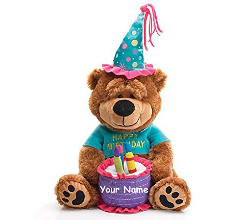 Personalized Happy Birthday Teddy Bear with Cake That Plays Happy Birthday to You Plush Stuffed Animal Toy - 15 Inches ()