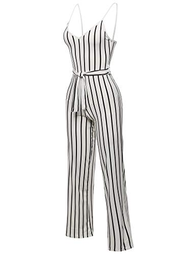 Awesome21 Pinstripe Sleeveless Strap Self Tied Waistband Jumpsuit White Size M