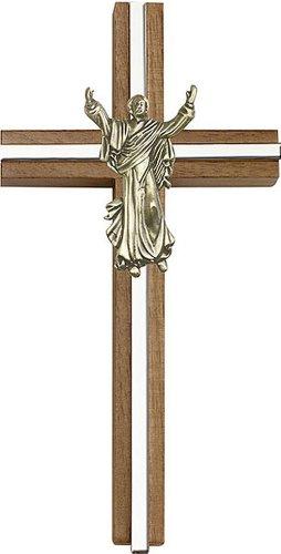 Icecarats Créatrice De Bijoux 6 Pouces Contemporaine Croix Christ Ressuscité, Noyer Antique Incrustation W / Or