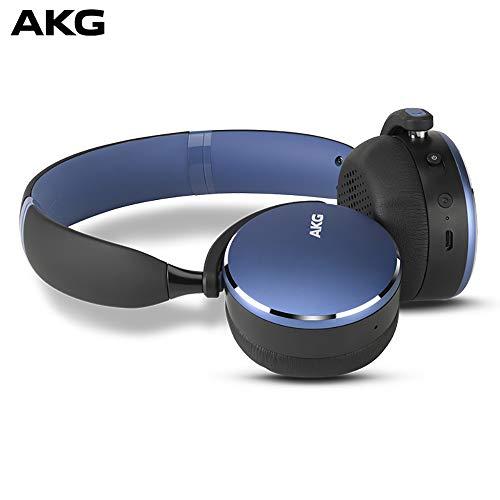 AKG Y500 On-Ear Foldable Wireless Bluetooth Headphones- Blue (US ()