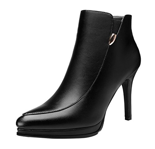 For Man Costume Sale For Slender Kids (Passionow Women's Elegant Side Zipper Pointed Toe Stiletto High Heel Platform Leather Ankle Booties (7.5)