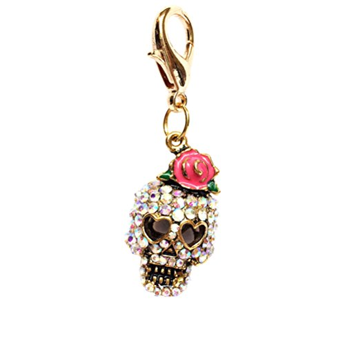 The Dog Squad Clip-On Collar Charms, Girly Skull