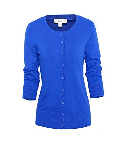 (Escalier Women's Knit Cardigans 3 4 Sleeve Button Down Crew Neck Soft Knit Cardigan Sweaters Blue)