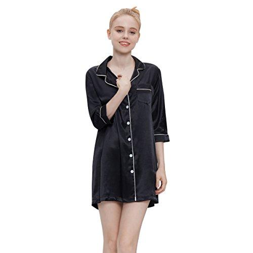 (HeartFor Women's Sleepwear Medium Sleeves Nightshirt Satin Pajama Top Boyfriend Shirt Button-Front Nightie Sleepwear(Light Black, XL))