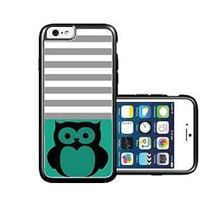 RCGrafix Brand Owl Black Emerald Green & Grey Stripes Black iPhone 6 Case - Fits NEW Apple iPhone 6