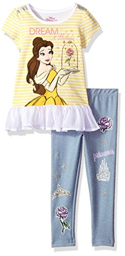 Disney Girls' Toddler 2 Piece Belle Short Sleeve Legging Set, Yellow, ()