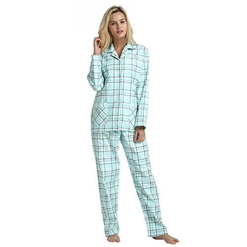 GLOBAL Women's Cotton Pajama Set,Long Sleeve Autumn Winter Sleepwear, Blue Plaid,  Medium