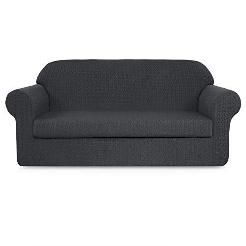 - Subrtex 2-Piece Jacquard Fabric Stretch Sofa Slipcovers (Loveseat, Gray Embossed)