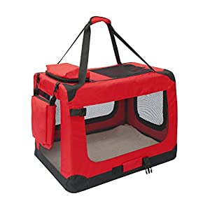 ALEKO PBCREDL 26X19.5X19.5 Inch Large Heavy Duty Collapsible Pet Carrier Portable Pet Home Spacious Traveler Pet Bag, Red