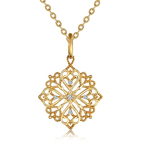 "Carleen Solid 18K Yellow Gold Sun Flower Necklace 0.03cttw Diamond Pendant Necklaces for Women, 18"" Chain"