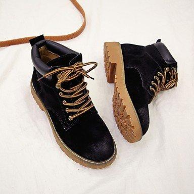 Desy Damen Schuhe Wildleder Herbst Winter Stiefel Stiefeletten Niedrig Rundspitze Stiefel Mitte Wade Schnürsenkel für Casual Schwarz gelb schwarz