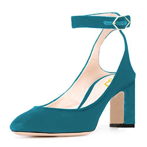 Women Sandals Pumps Strap Cm Slingback Retro 8 15 Turquoise High Velvet Round FSJ Toe Ankle US Heels Chunky Size 4 dBxgngIW