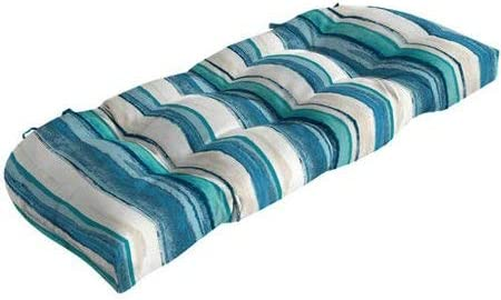 Comfort Classics Inc. Outdoor Wicker Settee Blue Striped Cushion