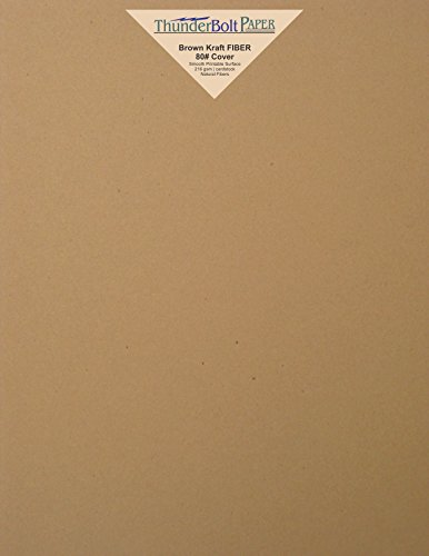 Earthy Mix - 50 Brown Kraft Fiber 80# Cover Paper Sheets - 8.5