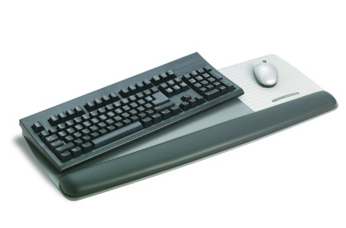 "3M Gel Wrist Rest for Keyboard and Mouse with Tilt-Adjustable Platform, Soothing Gel with Durable, Easy to Clean Leatherette Cover, Precise Mouse Pad, 25.5"" x 10.6"", Black (WR422LE)"