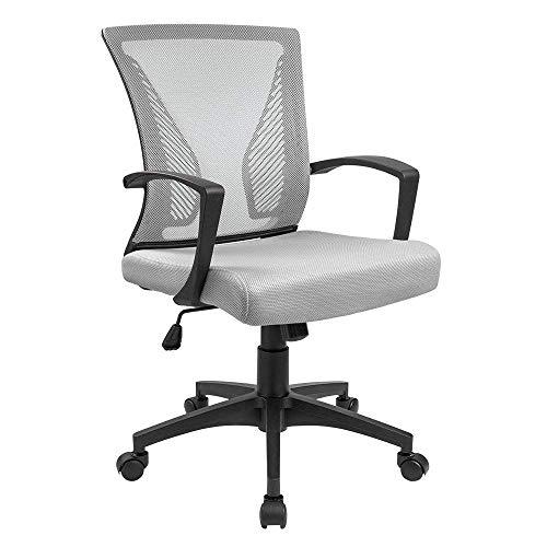 Furmax Gray7504 Office Mid Back Swivel Lumbar Support Desk,...