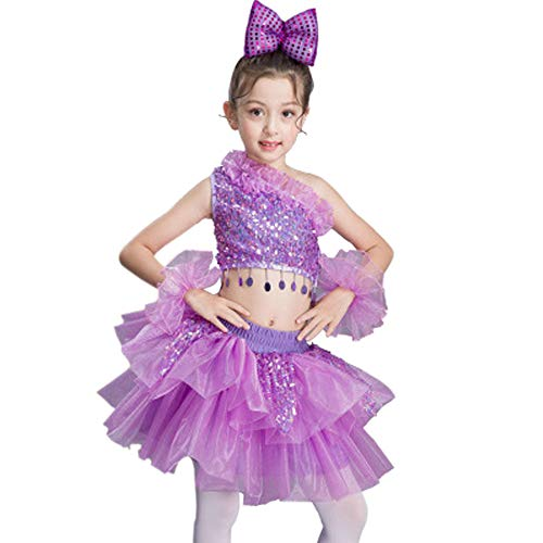 Girls Dresses Toddlers Sequin Tassel Tutu Dance Costume Cheerleading Outfit (5-6 Years, Purple)