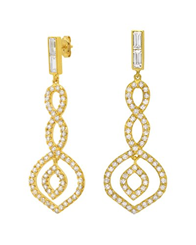 Crislu 18K Over Silver Cz Twist Earrings