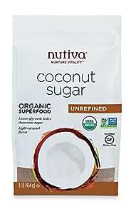 Nutiva USDA Certified Organic, non-GMO, Unrefined Granulated Coconut Sugar, 1-Pound