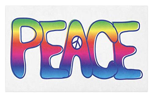 Lunarable 1960s Doormat, Colorful Rainbow Text with Peace Sign Activism Idealism Politics Letters 60s Symbol, Decorative Polyester Floor Mat with Non-Skid Backing, 30 W X 18 L Inches, Multicolor - Peace Trendy Sign