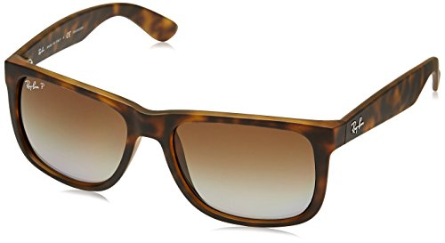 Ray-Ban RB4165 Justin Rectangular Sunglasses, Tortoise Rubber/Polarized Brown Gradient, 55 mm ()