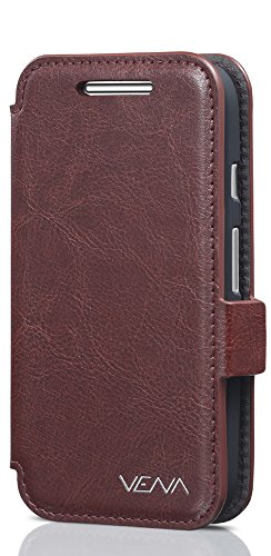 Motorola Moto E (2nd Gen, 2015) Wallet Case - VENA [vFolio] Slim Vintage Genuine Leather Wallet Stand Case with Card Slots for Motorola Moto E (2nd Gen, 2015) (Brown / Black)