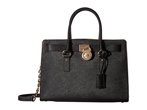 MICHAEL Michael Kors Women's Hamilton Large East/West Satchel Black Handbag