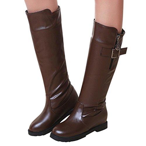 Sikye Winter Leren Laarzen Voor Dames Over De Knie Rijlaarzen Warme Hoge Laars Bruin