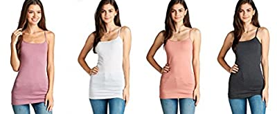 4 Pack Active Basic Women's Basic Tank Top (Dusty Mauve, White, Dusty Salmon, Charcoal Grey)