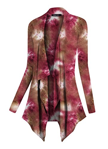 Coco Flap - Urban CoCo Women's Drape Front Open Cardigan Long Sleeve Irregular Hem (Red 2, 2XL)