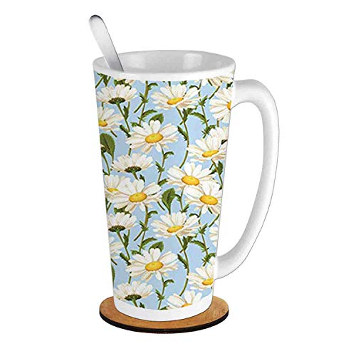 (Chamomile Flowers Garden Foliage Harvest Yard Shabby ,Ivory Olive Green Baby Blue;Ceramic Cup with Spoon & Round wooden coaster Milk Coffee Tea Mug 16oz gifts for family )
