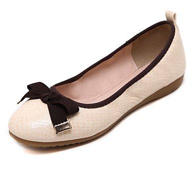Cómodo y elegante soporte de zapatos de mujer Flats punta redonda/cerrado en los dedos de primavera/verano/otoño/Flats Casual soporte de talón con lazo y caminar Almond