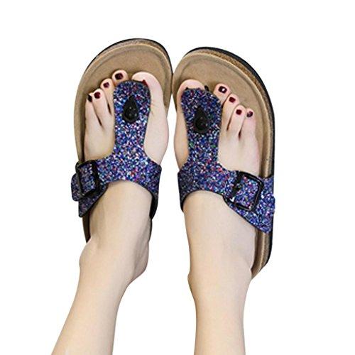 Schuhe Hausschuhe Pailletten Sandaletten Riemchen Damen Komfort Sandalen Glitzer Pantoletten Forh Hausschuhe Schlappen Sommer Flachen Sandalen Blau Zehentrenner vUqx7UP0