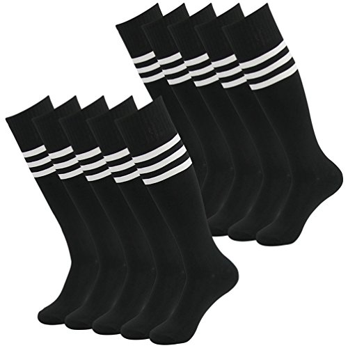 Soccer Socks Pack, J'colour Unisex Knee High Breathable Compression Football Socks 10 Pairs Black&White Stripe (Vintage Black White Football And)
