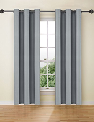 Ifblue Best Room Darkening Thermal Insulated Grommet Window Curtains -Blackout Curtains Drapes for Bedroom, Living Room, Kids Room-2 Panels 42 X 63 Inch each, Grey